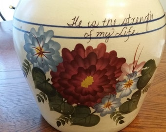 Cookie Jar /Canister 20 cup Pottery He is the Strength of My Life