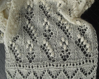 "Delicate Estonian Lace ""Lily of the Valley"" Scarf - Hand-Knit - 100% Baby Alpaca"