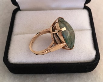 14K Solid Gold Rare 20cts Grossular Green Garnet Gemstone Dome Oval Cabochon Luxurious Ring Hallmarked ILD 14K