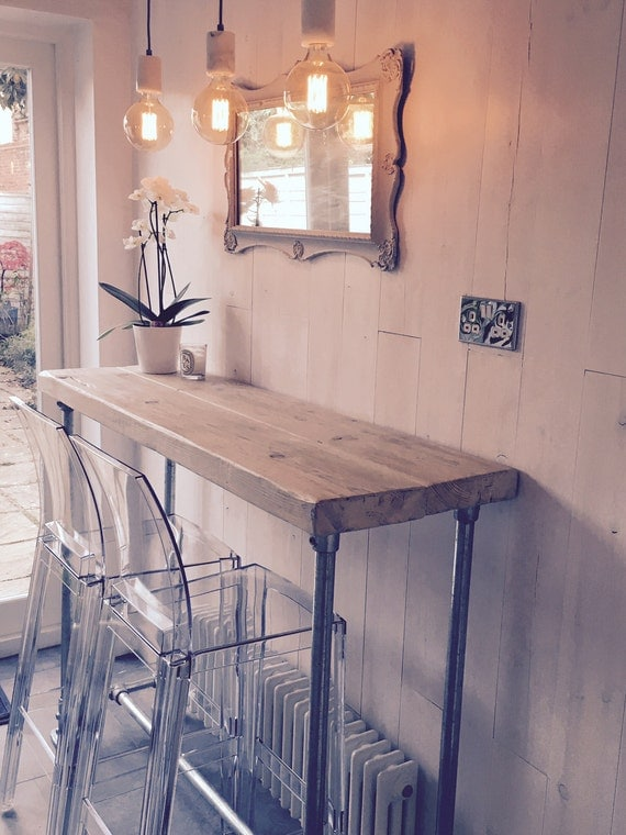 Industrial style reclaimed scaffold breakfast bar console for Industrial style kitchen uk