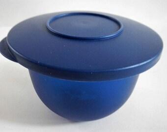 Vintage Tupperware Impressions Mini Bowl with Lid, #3621 - dark blue - 1980s - retro, kitchen, mixing bowl, storage, container, farmhouse
