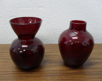 """Pair Ruby Red Glass Bud Vases 3"""""""