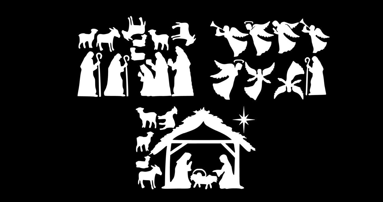 Large Nativity Window Clings Reusable Manger Scene By