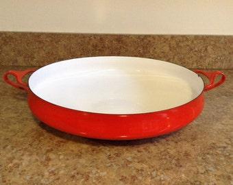 "Red Dansk Kobenstyle 13.5"" Paella Pan / Large Mid Century Dansk Enamel Pan with 4 Ducks Logo / Denmark"