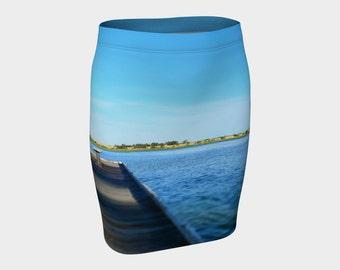 Wooden Jetty Lake  Print Stretch Bodycon Skirt Wearable Art Water Skirt Digital Print Skirt Lake Wyangan, Summer Skirt