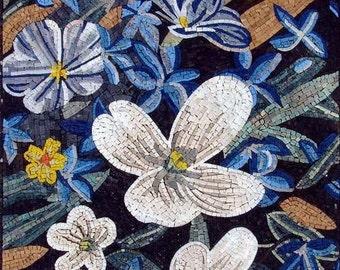 Floral Bathroom Mosaic Backsplash