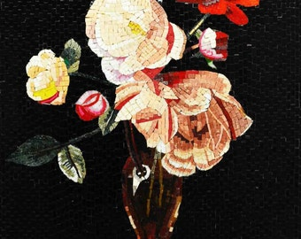 Flowers in a Vase Handmade Mosaic