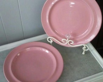 Pink Dinner Plates Carnivale Stoneware Vintage Serving Plates Set of Two Large Plates Ceramic Plates Retro Plates