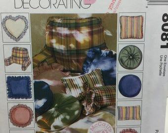 1990s McCall's 8081 Home Decorating, Pillow Pattern,Round Pillow, Neck Roll Pillow, Heart Pillow,Square Pillow,Flange Pillow,Headrest Pillow