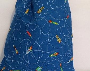 Child's wash bag. Waterproof. Flying rocket print.