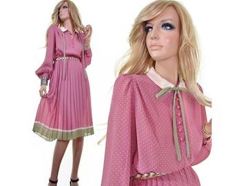 pink dress 70s dress secretary dress tea party dress hipster dress pleated skirt dress polka dot dress dusty pink green dress womens dresses