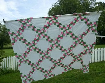 Vintage Quilt Top, Drunkards Path, Hand Stitched