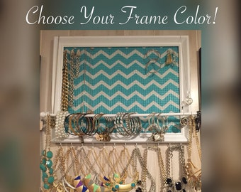 Custom Teal Chevron framed jewelry organizer / jewelry holder