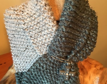 Unique Plush Winter Scarf with Ring Pull Through with Embellishment
