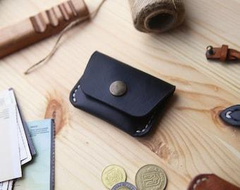 Coin purse, Leather coin purse, Leather coin pouch, Small leather pouch, Mens coin purse, Leather coin wallet, Horween Chromexcel Black