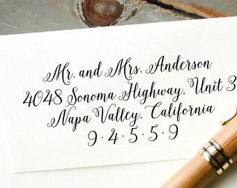 Personalized Calligraphy Address Stamp, Self Inking Calligraphy Stamp, Custom Return Address Stamp, Housewarming Gift, Wedding Invitation