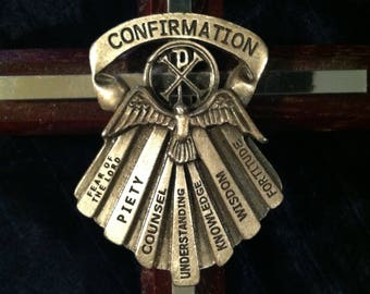 Wood And Pewter Confirmation Cross