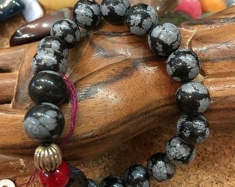 Snowflake Obsidian Stretchy Bracelet AAA gem quality