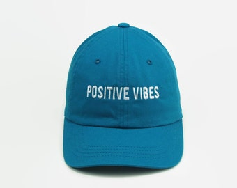Dad Hats, Baseball Cap, Dad Cap, Positive Vibes, Hat, Distressed Hat, Tumblr Hats, Teal Baseball Hat, Trending Hats, Custom Embroidered Cap,