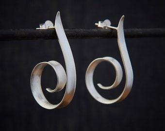 Silver Hoop Earrings, Brushed Silver Earrings, Swirl Hoops, Modern Earrings, Minimal Earrings, Matt Silver Earrings, Sterling Silver