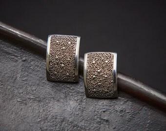 Silver Stud Earrings, Modern Earrings, Silver Granulation Earrings, Geometric Earrings, Contemporary Jewellery, Sterling Silver, 925
