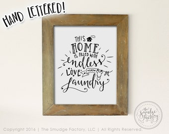 Laundry Printable File,  Endless Love and Laundry Room DIY Print, Hand Lettered Wash Room Download, Original Art Vinyl Stencil DIY Craft