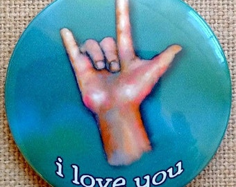 I Love You, ASL, Fridge Magnet, 3-Inch, Sign Language for I Love You, Hand, Deaf, Hearing, Original Pastel Art, Signing, Finger Spell