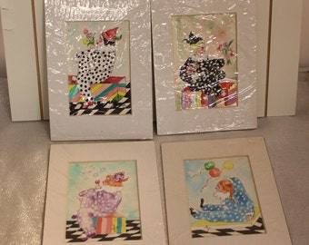 Set of Four Watercolor Pictures signed by Artist Glo