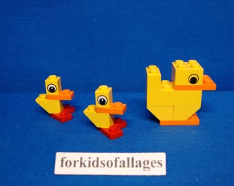 Custom Lego Easter Momma Duck and 2 Baby Chicks -- Great for Easter Basket / Party Favors / Easter Egg Hunt