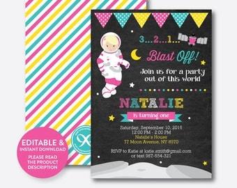 Instant Download, Editable Astronaut Birthday Invitation, Astronaut Invitation, Space Invitation, Outer Space, Girl, Chalkboard (CKB.67B)