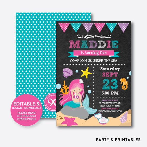 Instant Download Editable Mermaid Birthday Invitation Party Under The Sea Chalkboard CKB149