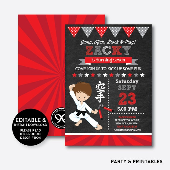 Instant Download, Editable Karate Birthday Invitation