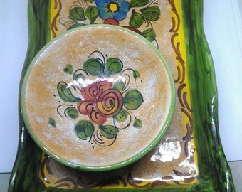 Tray with bowls-ceramic Amalfi-hand-painted ceramic-ceramic vietri