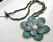 Knotted Bead Necklace, Hand Knotted Necklace, Boho Beaded Necklace, Green Flower Jewelry, Statement Necklace, Leather Necklace, Bohemian
