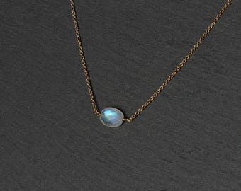 Rainbow Moonstone Choker Necklace, Moonstone Necklace, Moonstone Jewelry, Moonstone Choker, Dainty Necklace, Minimalist Necklace