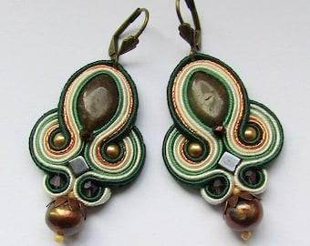 Soutache Earrings Cream - Green
