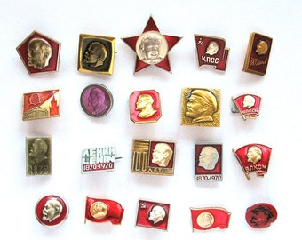 Lenin, Pick from Set, Communism, Vintage metal collectible badge, Soviet Vintage Pin, Soviet Union, Made in USSR, 1970s, 70s