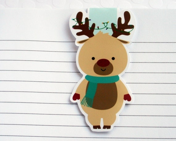Reindeer Bookmark, Cute Christmas Paper Clip for Planners or Cookbooks, Kawaii Christmas Reindeer Page Marker for Book Lovers & Readers