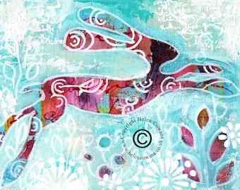 Bounding Hare #155 Original Painting