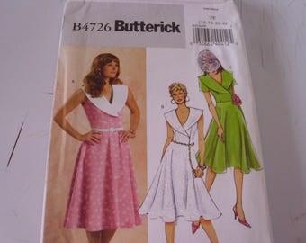 Butterick B4726 / Sizes 16-18-20-22 / Flared Skirt Dress / Wide Lapel Collar Dress / Easy Dress Pattern / Uncut FF Pattern