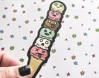 Ice Cream Cone Sticker, Laptop Sticker, Car Sticker, Bumper Sticker, Vinyl Sticker, Cute Food, Funny Food, Cute Ice Cream