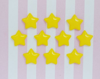17mm Kawaii Pastel YELLOW Star Decoden Cabochons - 12 piece set