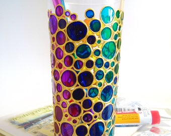 Water Glass Rainbow Multi Coloured Bubbles sun catcher tumbler Hand painted Drinking Glasses Bubbles Design Glassware
