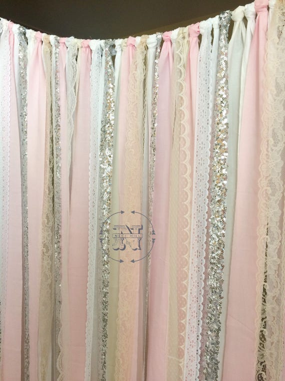 Blush Backdrop Silver Sequin Curtains Fabric Rag Garland Nursery Ribbon  Pink Gray White Ivory Photo Prop  Curtain Wedding Shower Cakesmash
