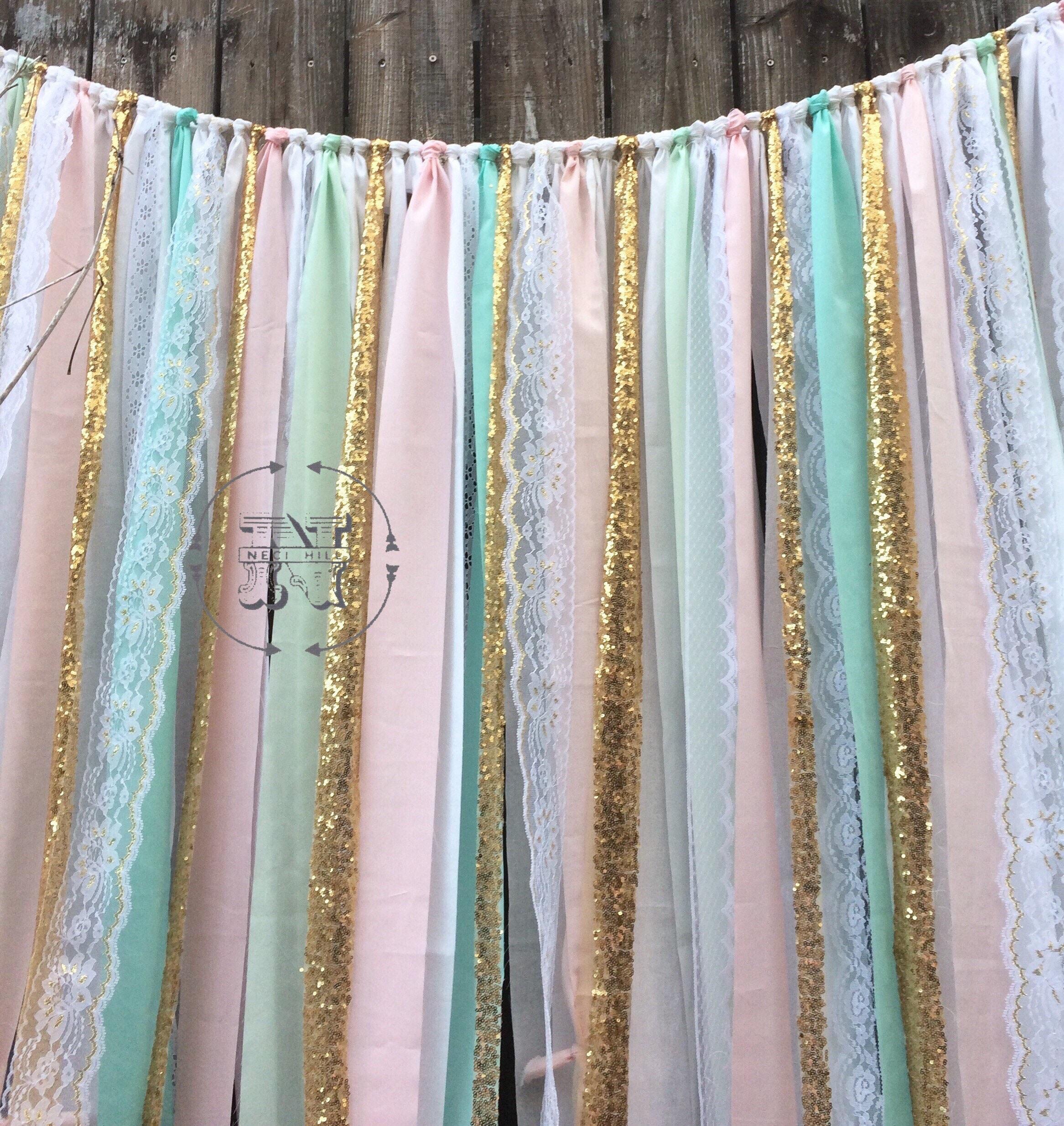 Mint Blush Peach Backdrop Gold Sequin Ribbon Lace Rag Garland