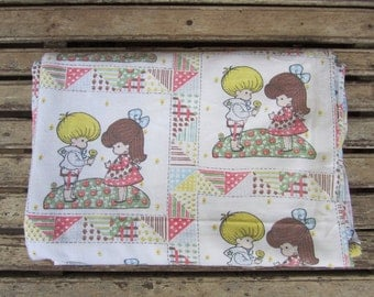 Vintage Joan Walsh Anglund Single Bed Sheet  - 1970's - Flannelette - Holly Hobbie