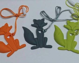 Silicone Fox Teether/Pendant with cord and clasp.