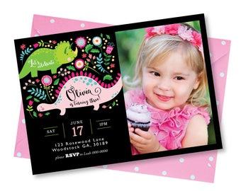 Girl's Dinosaur Invitation, Pink Dinosaur Photo Invite, Printable, Digital Customized, Invitation, Cute Dinosaur Invite Photo Invitation