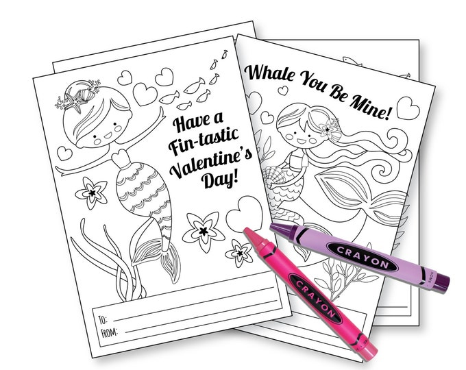 Mermaid Colouring Valentines Day Cards / printable DIY card / classroom Valentine for kids / Instant Download / Valentine Cards Mermaids