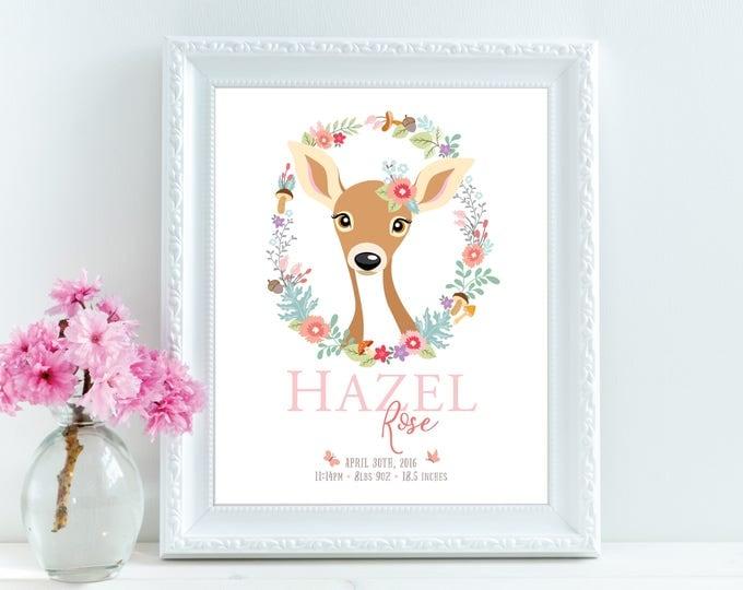 Birth announcement wall art, deer/fawn/flowers, personalized, baby print, date of birth art, print birth stats, baby keepsake, birth art